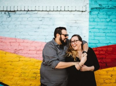 Denver RiNo Engagement Photos with Colorful Murals